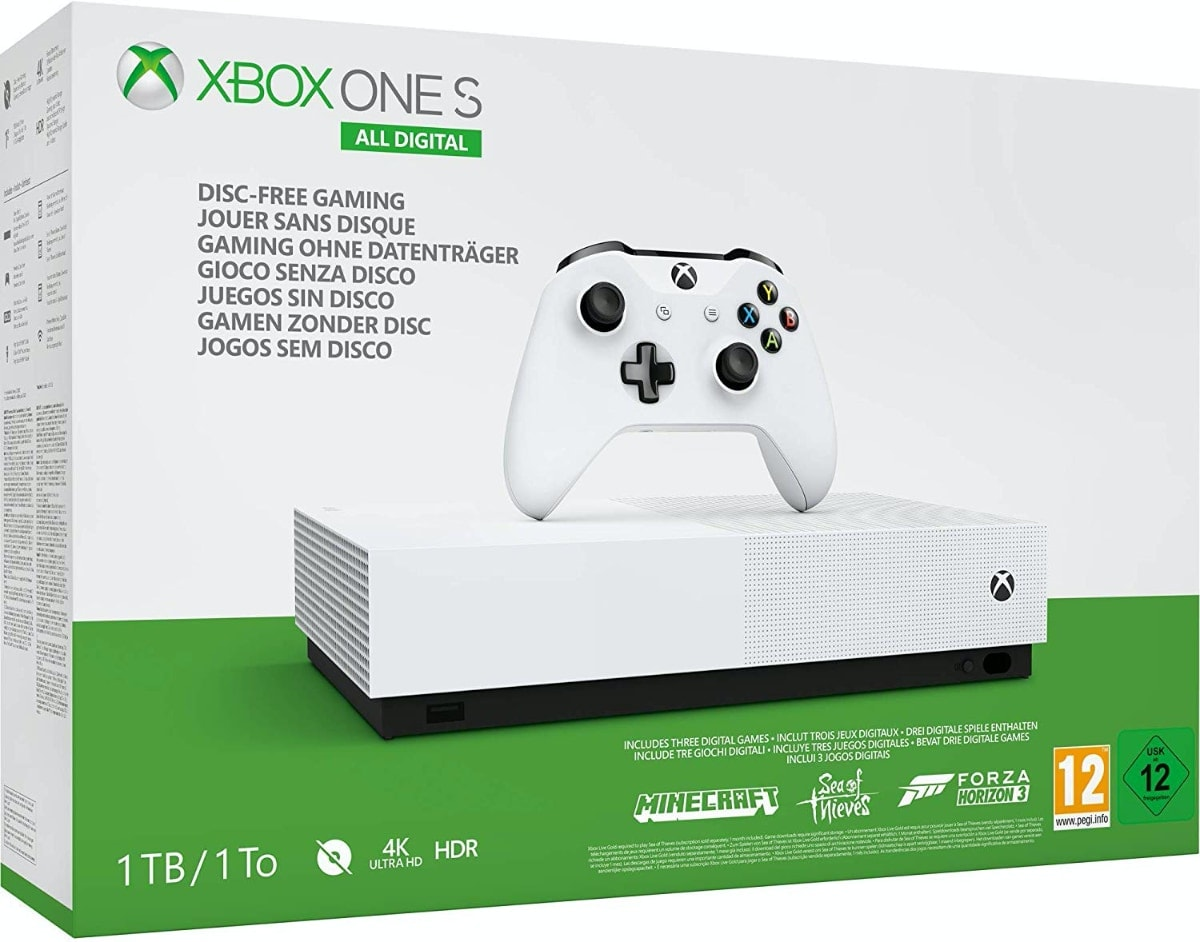 Microsoft Xbox One S All Digital - Consola de 1 TB, color blanco + 1 mes de Xbox Live Gold, 1 mando blanco, Forza Horizon 3 (juego digital)