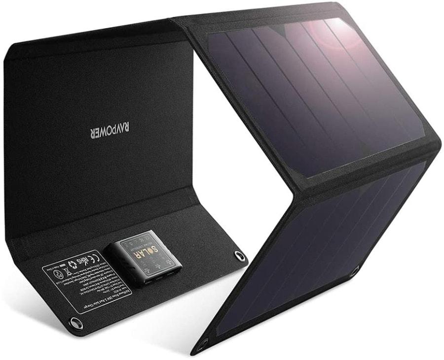RAVPower - Cargador Solar de Tres Puertos USB de 28 W