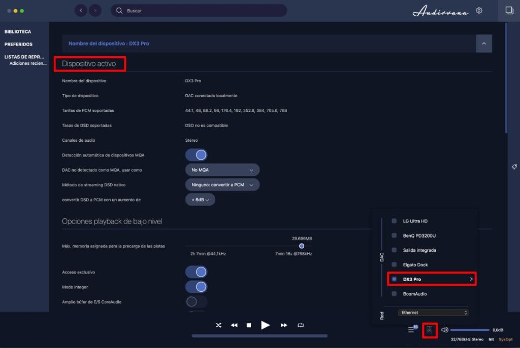audirvana configurar fuente audio