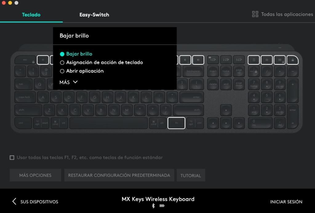 Personalización de teclas Logitech Mx Keys