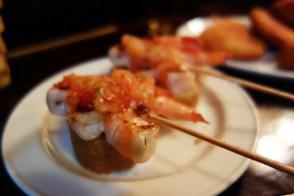 Shrimp skewer pintxos at Gandarrias
