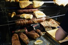 Kokoreç, prepared by wrapping lamb intestines over skewered sweetbreads and other innards and rotating the log of offal over screaming hot charcoal