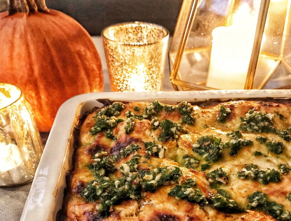 Moroccan low-carb lasagna with lamb and zucchini - no pasta