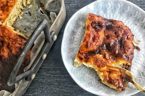Classic Danish brunsviger - sticky brown sugar butter bread cake