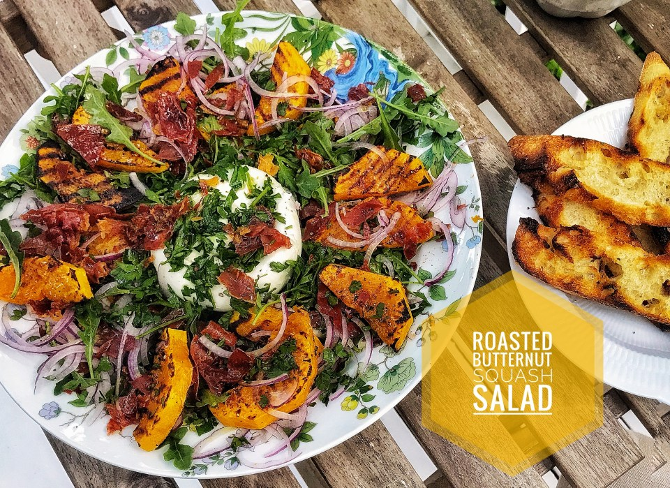 Delicious autumn recipes - Roasted butternut squash salad with Parma ham and Burrata