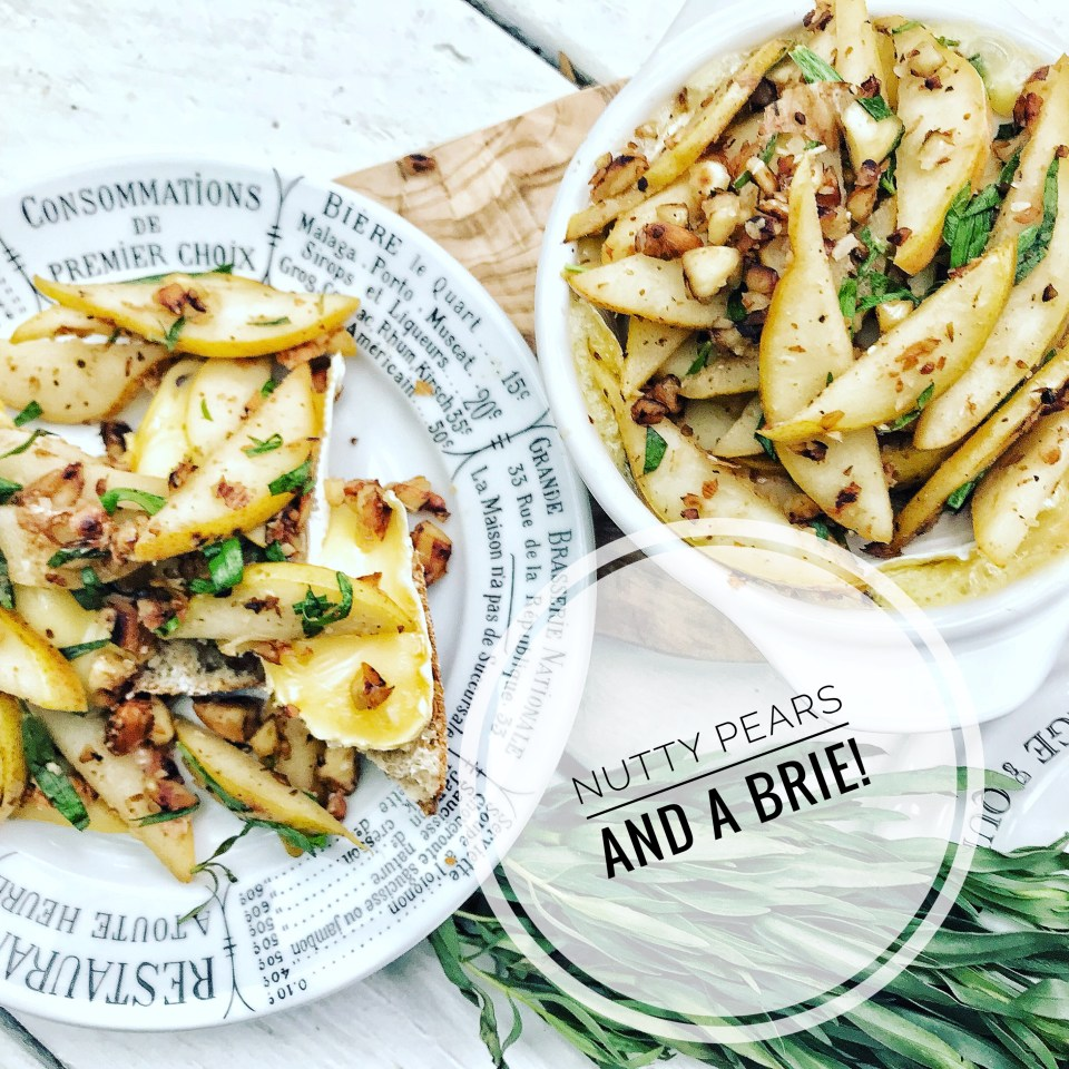 French inspired recipes - Bakes brie with brandied pears, tarragon and almonds