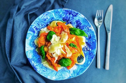 Red pepper paprika pasta and creamy sauce