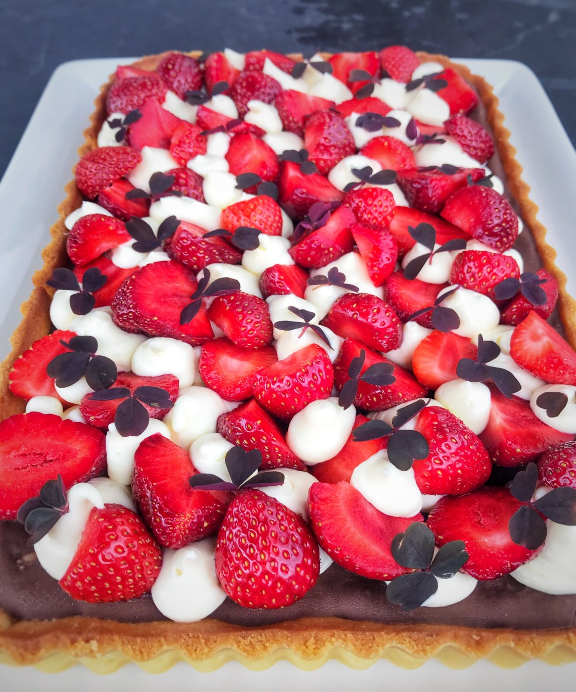 Danish strawberry cake. The ultimate Danish cake classic shortcrust and remonce base, rich chocolate, vanilla mousse cream and fresh strawberries