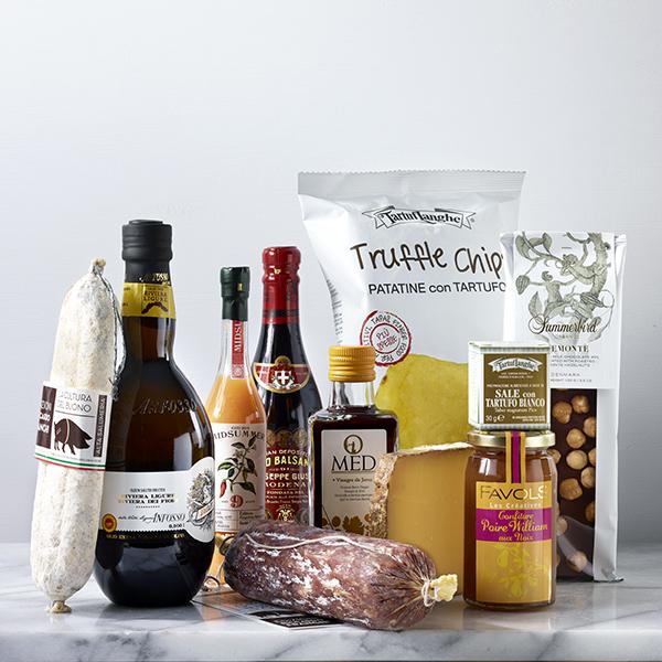Gavepakke med gourmet-matvarer