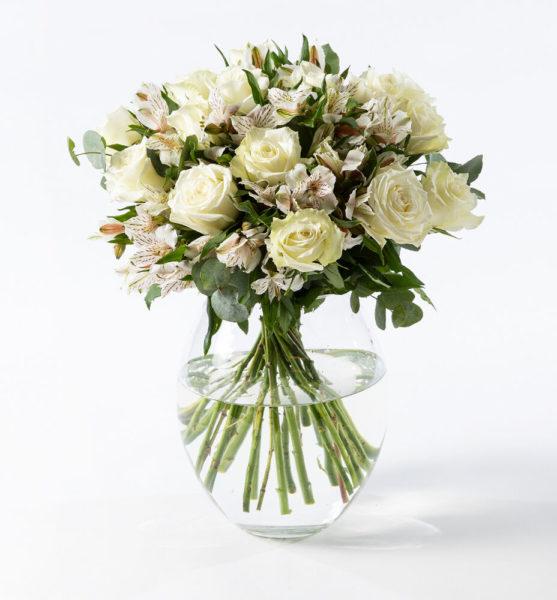 Send blomster på døra - Hvit rosebukett