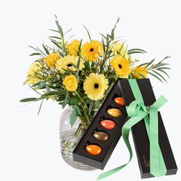 Send blomster på døra - Vår i luften med Sjokoladeegg