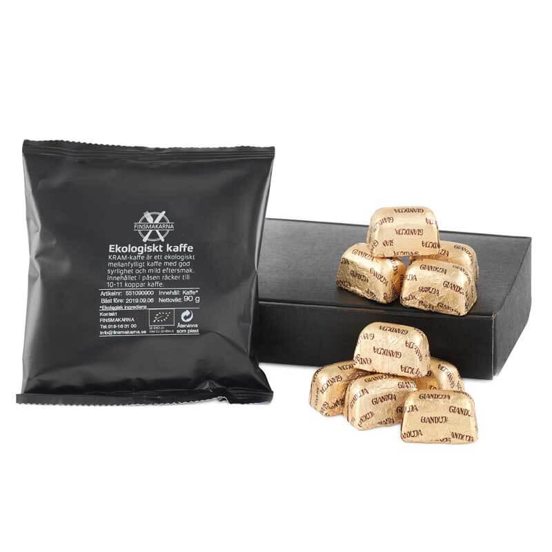 Presentkorg med chokladpraliner