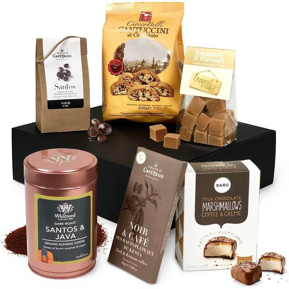 Klassisk presentkorg som nästan alltid går hem (choklad, kakor och kaffe)