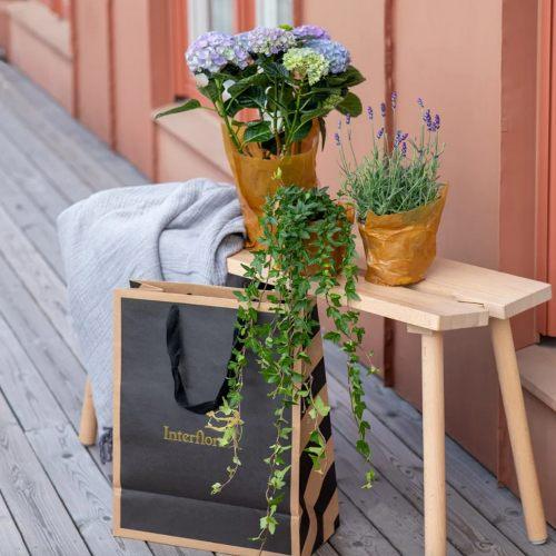 Kasse med blommor som present