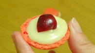 Macaron cerise et chocolat blanc bigout