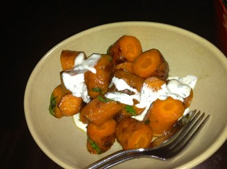 Orange & ginger carrots, cumin & yoghurt ($10)