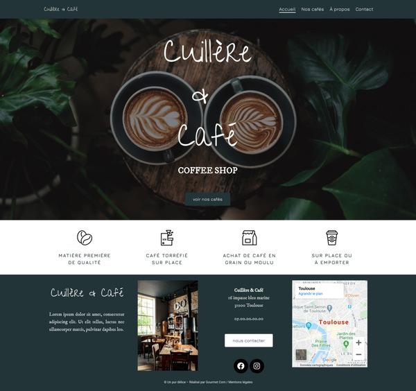 Maquette de création de site internet pour un café pour le package Standard