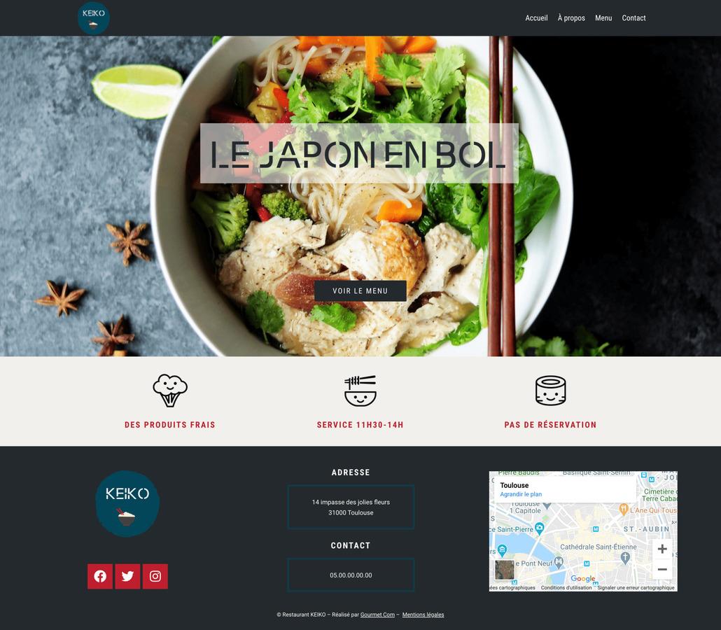 Maquette de création de site internet pour un restaurant avec le package Standard