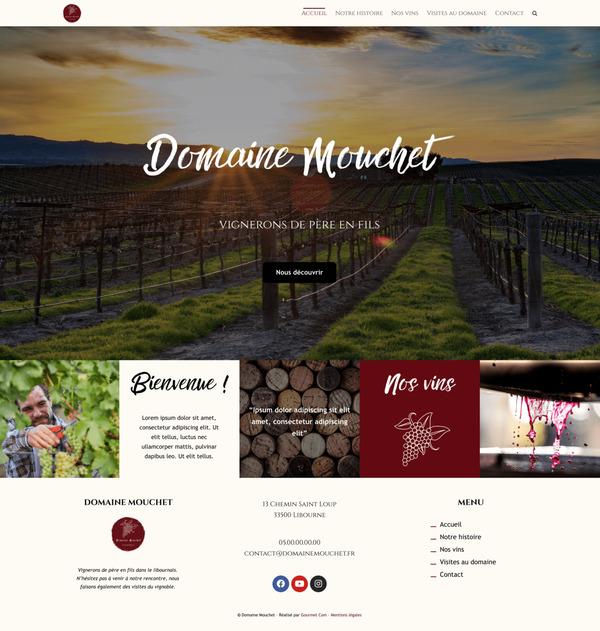 Maquette de création de site internet pour une château bordelais avec le package Standard