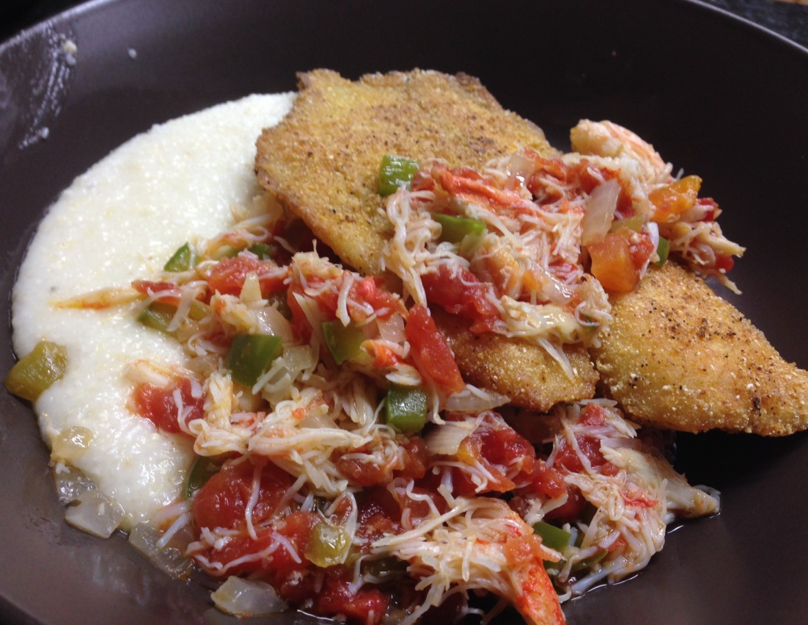 Tilapia with Manchego Grits and Warm Crab Salsa