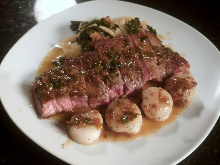 Valentine's Day Dinner: Ribeye & Scallops with Beer-Butter Sauce