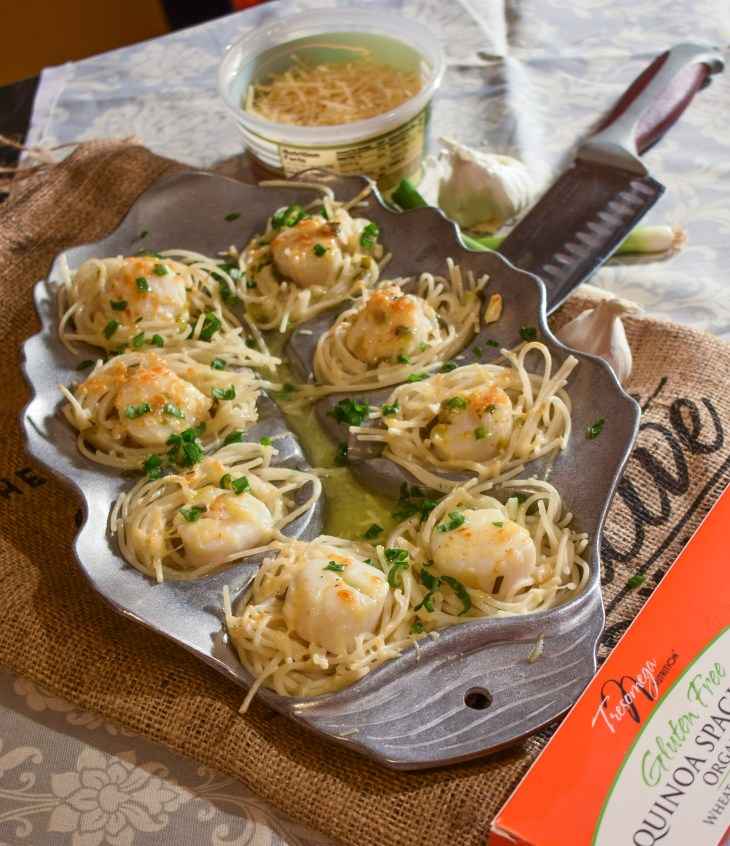 Valentine's Day Dinner: Butter-Poached Scallops Spaghetti Nests