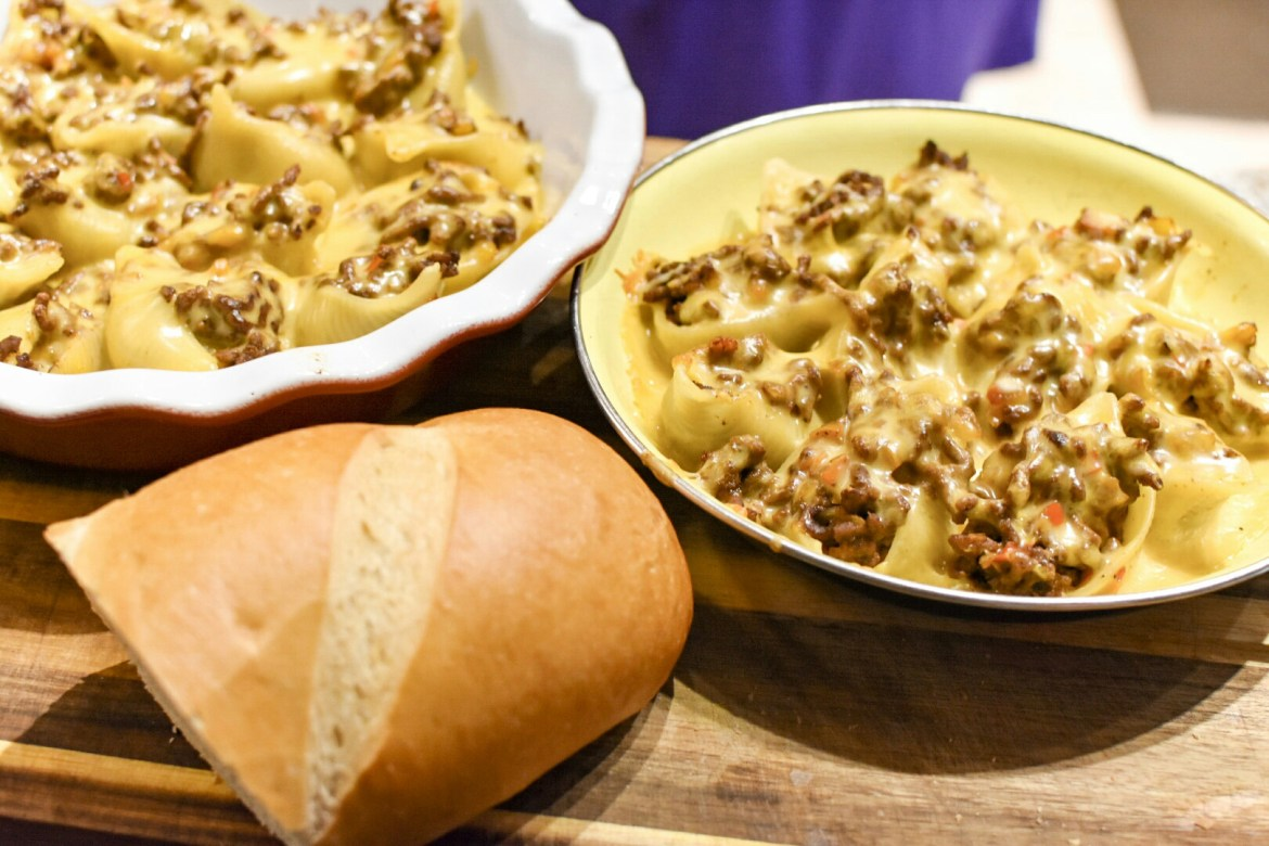 30 Minute Meal: Philly Cheesesteak Stuffed Shells