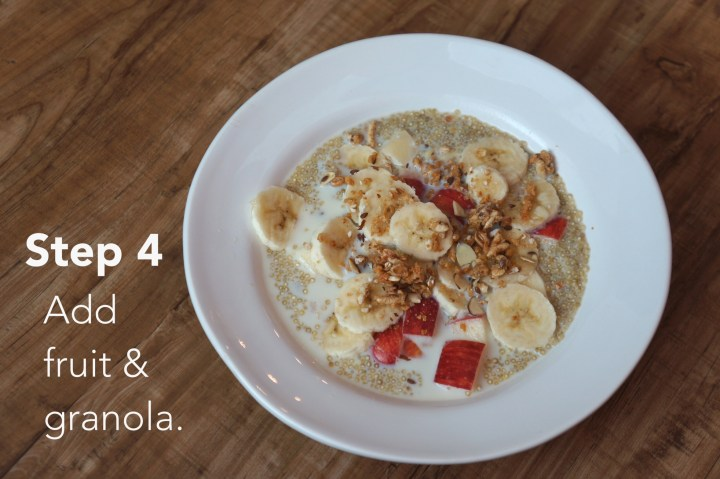 "Quinoa ""Oatmeal"" with Fruit and Granola"