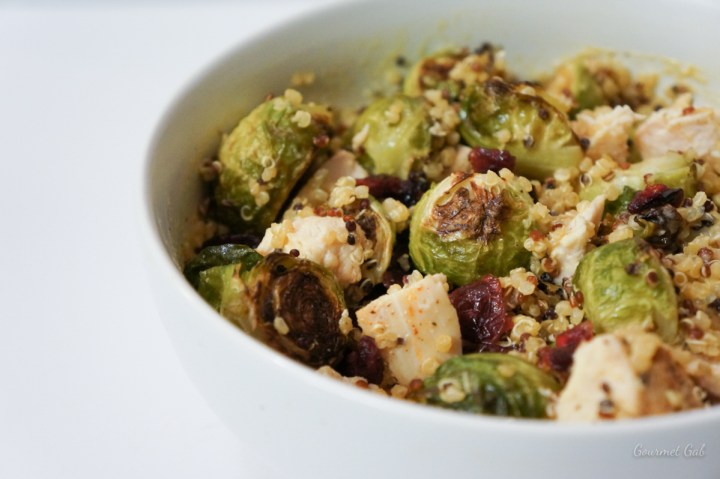 Gourmet Gab Brussels Sprouts Salad with Tahini Dressing