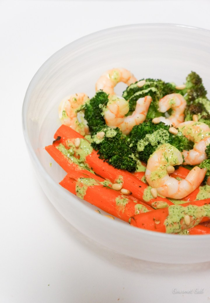 Gourmet Gab Honey Dill Dressing with Roasted Vegetables and Shrimp