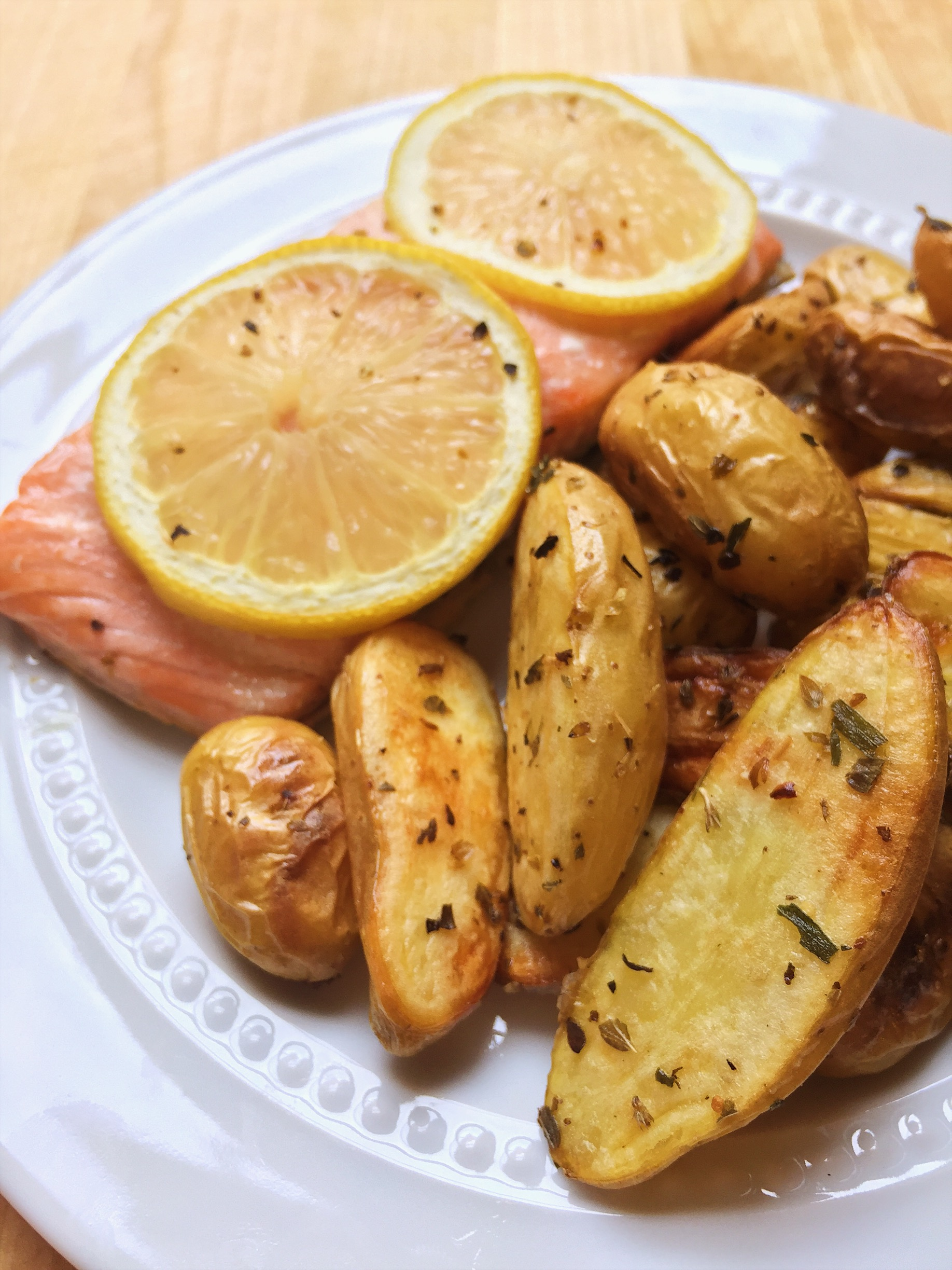 Lemon Pepper Salmon and Roasted Potatoes