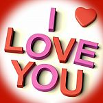 I Love You Text With Heart Stock Photo