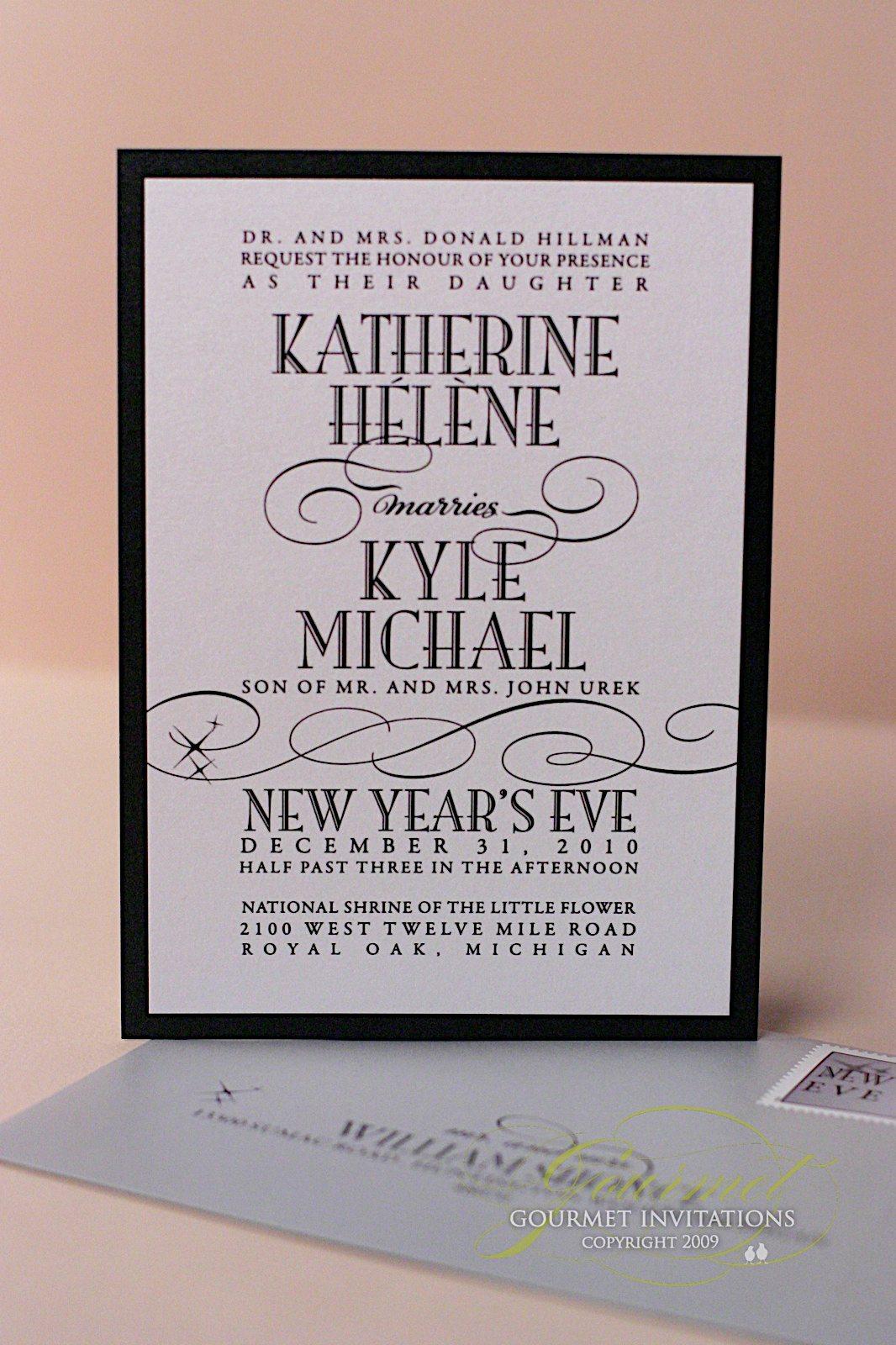 Kathryn + Kyle: New Years Eve Wedding Invitations   Gourmet Invitations