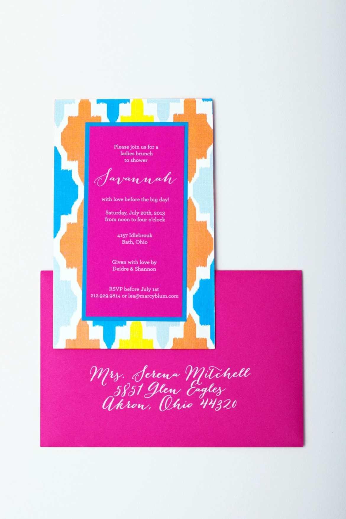 patterned wedding shower invitations