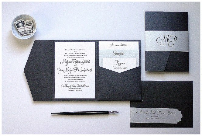 Black And Silver Wedding Invitations Gourmet