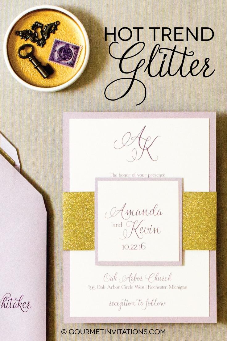 gold glitter invitation