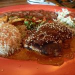 Chicken Mole with rice and beans