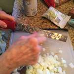 Cut onions and garlic being grated