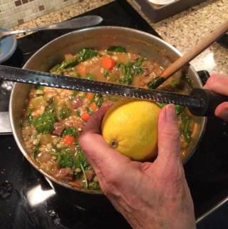Beef Barley Soup with Lemon
