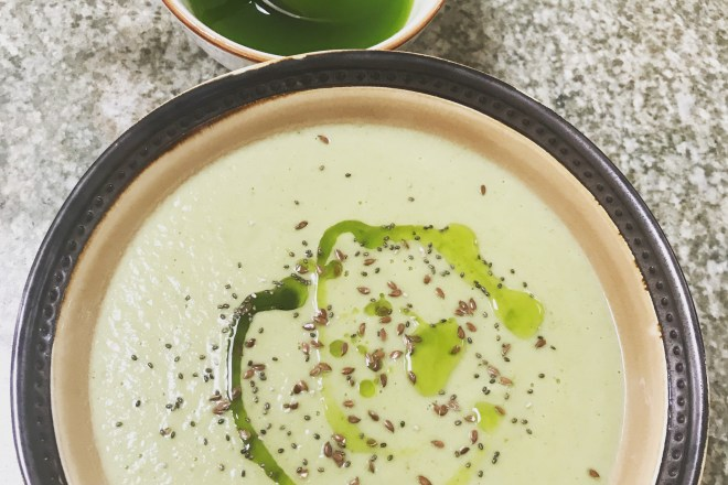 Cauliflower veloute with chive oil