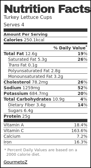 Nutrition label for Turkey Lettuce Cups