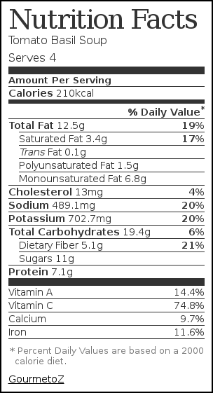 Nutrition label for Tomato Basil Soup
