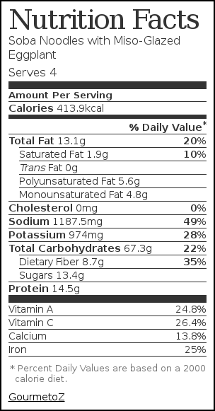 Nutrition label for Soba Noodles with Miso-Glazed Eggplant