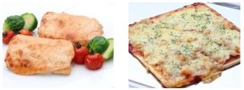 【左】サーモンの明太子 マヨネーズ焼き【右】ポテトとツナのピザ (8月の土日祝)