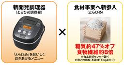 糖質約47%オフ、食物繊維約8倍※の「とらひめ」と「とらひめ」専用メニューつき調理器