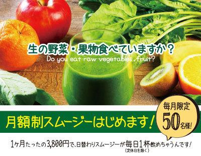 月額3800円定額制スムージーを販売いたします。野菜不足の現代人に毎日野菜を届けます。《shonan smoothie&juice》