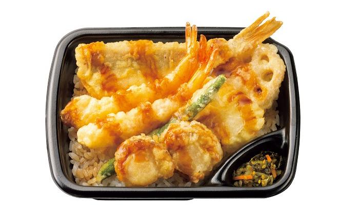 「ほっともっと」、490円の『海鮮天丼』新発売。4種の海の幸と2種の野菜を天ぷらに