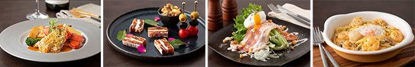 (左から)オマール海老のソテー ディアブル風、市田柿のフロマージュとミックスナッツ、ポーチドエッグをのせたシーザーサラダ、スパゲティクリーム ペスカトーレ