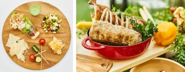 (左)前菜ブッフェ盛り合わせイメージ (右)メイン料理イメージ