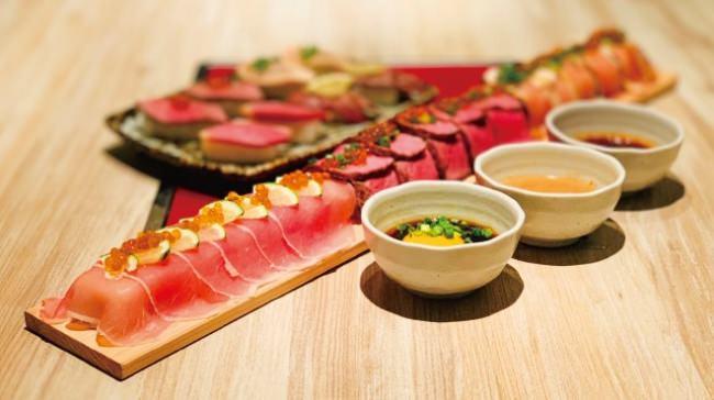 """SNSで話題!NEW韓国グルメのお肉たっぷり""""ロング肉巻きドレス寿司""""を1日3組様限定で半額でご提供!"""